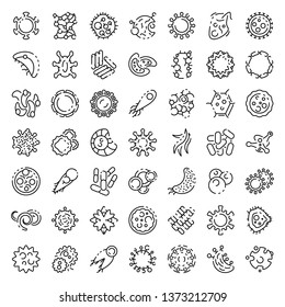 Bacteria icons set. Outline set of bacteria vector icons for web design isolated on white background