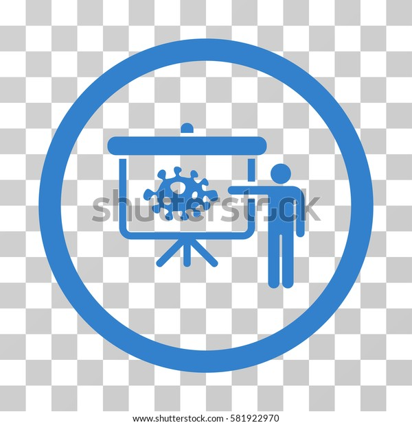 Bacteria Lecture vector pictograph. Illustration style is a flat iconic cobalt symbol on a transparent background.