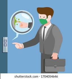 Bacteria in lift, man contamination bacteria virus infection from touching in public area in cartoon flat illustration vector