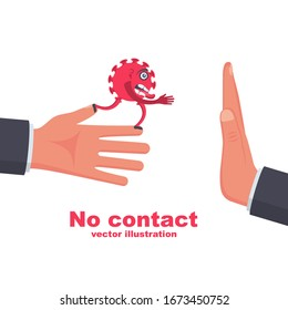 Bacteria on hand. Coronavirus transmitted through a handshake. Gesture No physical contact. Vector illustration cartoon flat design. Precautions and prevention of disease.