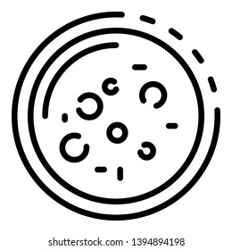 Bacteria in a Petri dish icon. Outline bacteria in a petri dish vector icon for web design isolated on white background