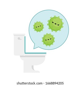 Bacteria vector. Virus vector. free space for text. Flush toilet.