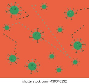 Bacteria virus and germs microorganism background. Vector flat cartoon illustration