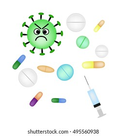 Bacteria and viruses are treated with pills and injections. Infographics. Vector illustration on isolated background
