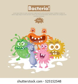 Bacteria web banner. Group of funny colorful microbes cartoon characters vector illustrations. Smiling and scary virus, pathogen cell, germ, parasite. For medical, hygienic, science web page design