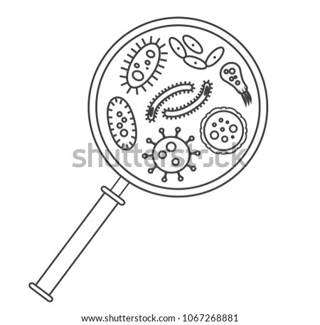 bacterial microorganism in a circle bacteria and germs line set micro organisms