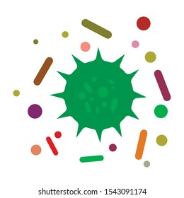 Bacterial microorganism. Virus set isolated. Infection bacteria. Vector illustration.