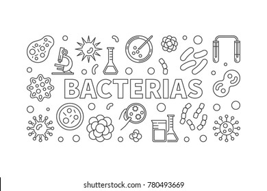 Bacterias horizontal outline illustration. Vector concept minimal banner made with virus and bacteria icons in thin line style