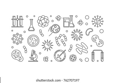 Bacterias linear modern illustration or horizontal banner made with bacteria and microbe concept icons on white background