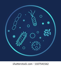 Bacterias  and viruses icons. Vector illustration on dark background