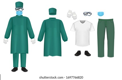 Bacteriological protective suit set, vector illustration. Hospital, emergency medical staff sanitary clothing. Green protection suit. Nursing scrub, hat, mask, underscrub tee, shoes, goggles gloves.