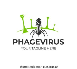 Bacteriophage and phage virus on bacteria, logo design. Healthcare, medical and scientific research, vector design and illustration