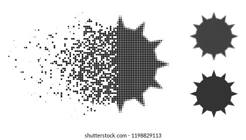 Bacterium icon in dispersed, dotted halftone and undamaged solid variants. Particles are grouped into vector dispersed bacterium symbol. Disappearing effect involves rectangle particles.