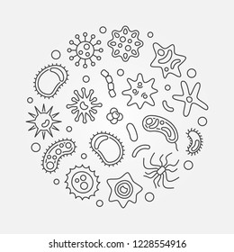 Bacterium round vector microbiology concept illustration made with microorganism outline icons