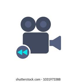 Bacward cam camera film movie record icon. Vector illustration