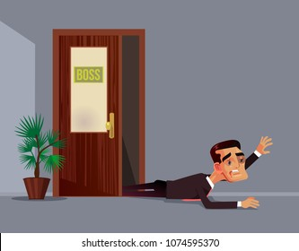 Bad angry boss beat employee office worker man character. Work abuse aggression discrimination concept. Vector flat cartoon illustration