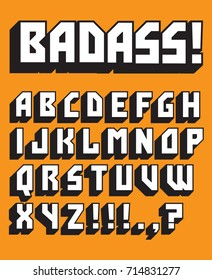Bad Ass Custom Retro Vector Alphabet Big bold alphabet of vintage style 1970s letters. Great display typeface for big, bold headlines.