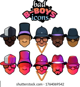 Bad B-boys For Life. A set of 5 cool bboys with different iconic hats from the 1980s.