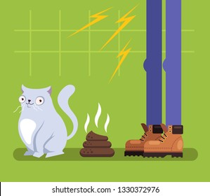 Bad behavior funny cat character sitting near poop. Owner man angry. Pets animal training isolated illustration graphic design flat concept