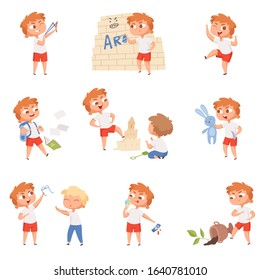 Bad behavior kids. School sad boys and girls angry devil little persons vector characters