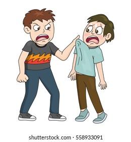 Bad boy bullying a smaller kid, vector illustration cartoon