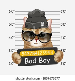 Bad boy cat with black hat and sunglasses. kitty. Colorful realistic portrait of cat. Template for card, poster, banner, print for t-shirt.