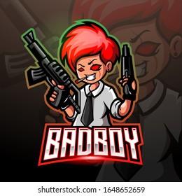 Bad boy gunners mascot. esport logo design