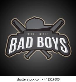 Bad boys. Modern vector emblem on youth subjects.