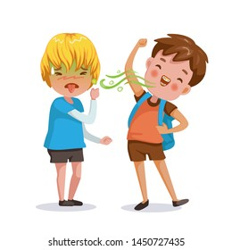 bad breath boy. The little boy feels foul. Bad breath from friends. Cartoon character vector illustration Isolated on  white background.