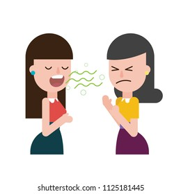 Bad breath from friends, vector illustration