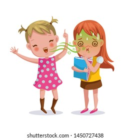 bad breath girl. The little girl feels foul. Bad breath from friends. Cartoon character vector illustration Isolated on  white background.