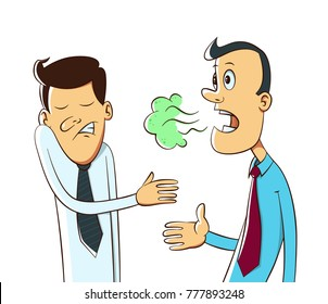 Bad breath from a man's mouth, cartoon