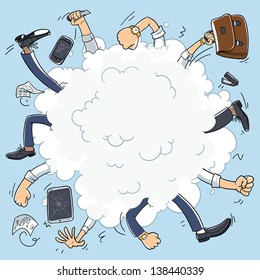 bad business team. conflict in office. Business fight cartoon cloud. illustration isolated on background. broken tablet and broken smart phone