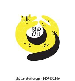 Bad cat hand drawn. Scandinavian style. Vector print