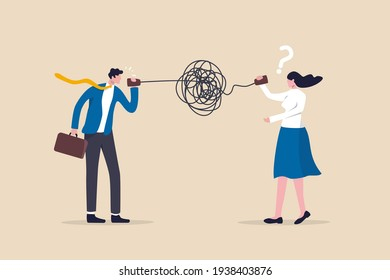 Bad communication, misunderstanding create confusion in work, miscommunicate unclear message and information concept, businessman talking through messy chaos, tangled phone line make other confused.