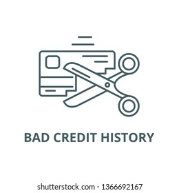 Bad credit history line icon, vector. Bad credit history outline sign, concept symbol, flat illustration