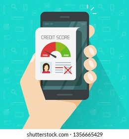 Bad credit score online on smartphone vector illustration, flat cartoon mobile phone with credit history document, cellphone with financial rating personal data