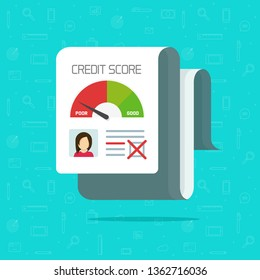 Bad credit score report vector illustration, flat cartoon credit history document check, financial rating personal data  icon isolated,