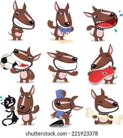 Bad Dog cartoon collection, with angry dog, eating cloth god, yelling dog, braking ball dog, eating meat dog, killing cat dog, biting leg dog and eating bone dog. Vector illustration.