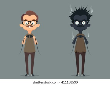 Bad Electrician. Funny Cartoon Character Before and After connecting the Wire. Vector Illustration