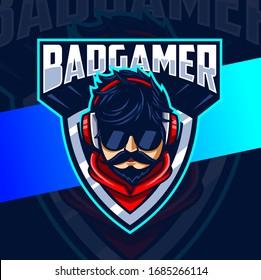 bad gamer man mascot esport logo design