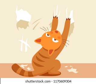 Bad ginger cat scratching Wallpaper. Problematic behavior of domestic animal cartoon vector illustration