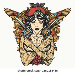 Bad girl, crossed guns, wings and mayan ancient glyphs. Criminal street culture art. Favela style. Swag. Hip-hop and rap lifestyle. Cool gangster tattooed woman in baseball cap