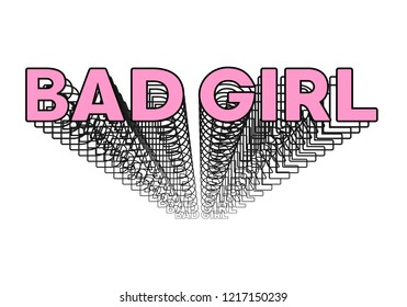 """Bad girl"" retro, vintage slogan. Perfect for pin, card, t-shirt design, poster, sticker, print. Vector pink illustration."