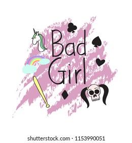 Bad girl t shirt concept art, skull, girl, poker, unicorn and rainbow