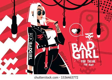Bad girl you think you want vector illustration. Fashionable woman in stylish casual clothes flat style concept. Blonde in dark sunglasses standing on red background