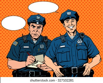Bad good COP police pop art retro style