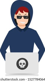 Bad guy or hacker operating a notebook
