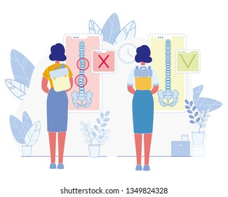 Bad Habit Harmful for Health Flat Vector Concept. Woman Wearing and Carrying Heavy Backpack on One Shoulder Illustration. Spine Diseases and Posture Problems Prevention Medical Scheme, Infographics