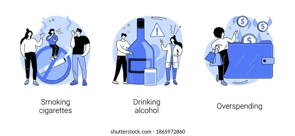 Bad habits abstract concept vector illustration set. Smoking cigarettes, drinking alcohol, overspending, tobacco and nicotine addiction, alcoholism therapy, budget planning, stress abstract metaphor.